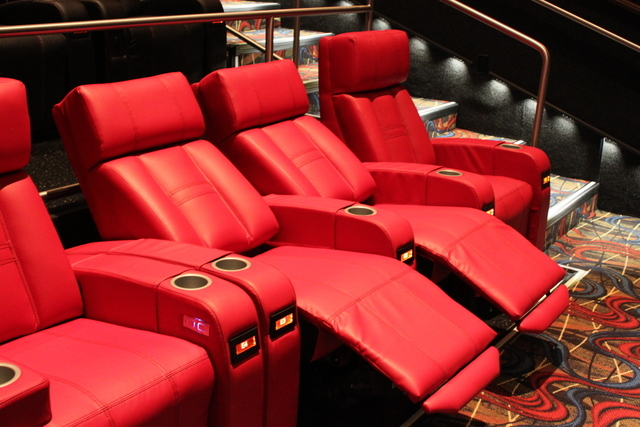 Recliners are becoming standard now at major movie chains. (Photo provided  by Cobb Theatres /CineBistro) - Movie Theaters Are Adding Comfy Seats, Booze -- Even Gourmet Meals