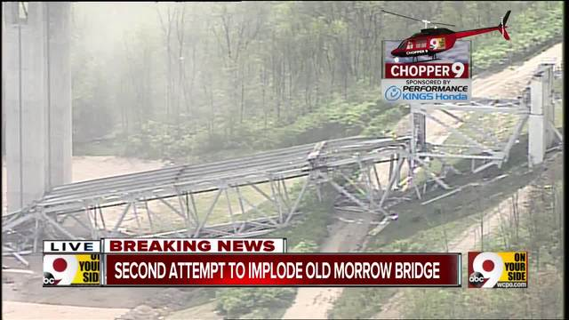 Old Jeremiah Morrow Bridge comes down in second implosion attempt