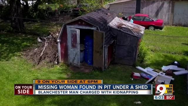 Missing woman found in pit under a shed