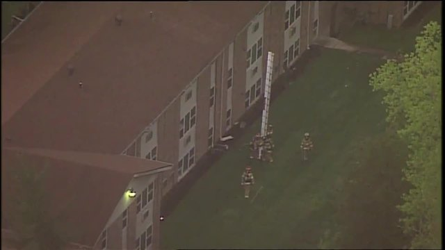 Chopper 9 footage over Loveland apartment fire