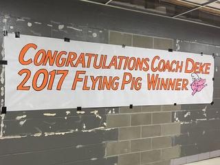 WATCH: School celebrates Flying Pig winner coach