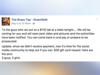 Bar shames drink-and-dashers online