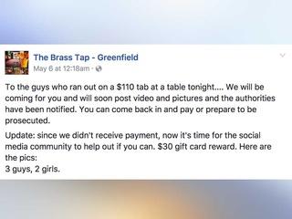 Bar shames drink-and-dashers online