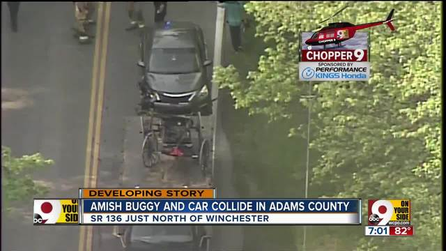 Amish buggy and car collide in Adams County
