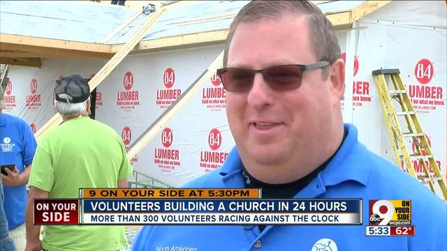 Volunteers building a church in 24 hours