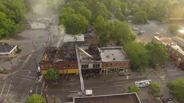 Aerial view of fire damage in historic downtown Loveland