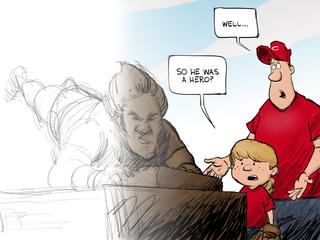 How did WCPO cartoonist create Pete Rose toon?