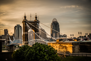 Cincygram: Changing hues of Suspension Bridge