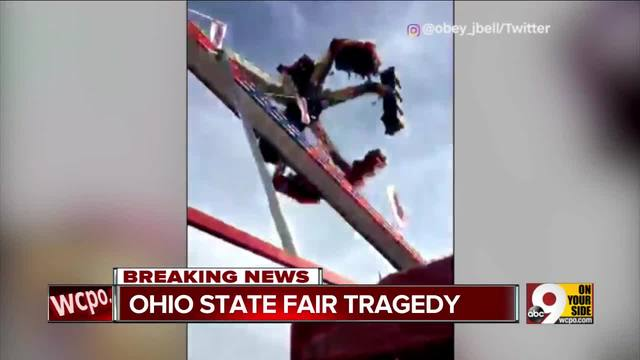 Ohio State Fair ride breaks mid-swing- killing 1 and hurting 7