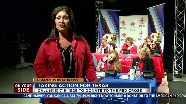 Cincinnati area residents give to the American Red Cross relief fund for victims of Hurricane Harvey by calling (513) 719-4929 until 8 p.m. Monday.