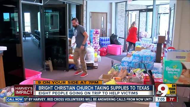 Eight people are going on the trip to help Hurricane Harvey victims.