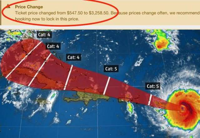 Gouging? Delta's $3000 fare to escape Hurricane Irma