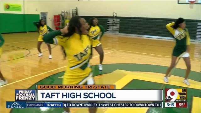 Taft High School cheerleaders prepare for football game vs- Aiken