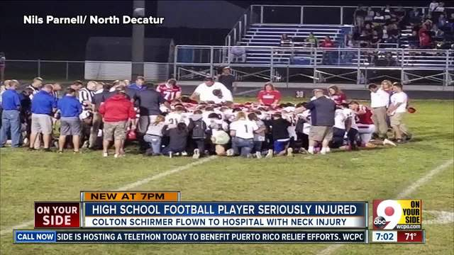 -Freak accident- seriously injures high school football player