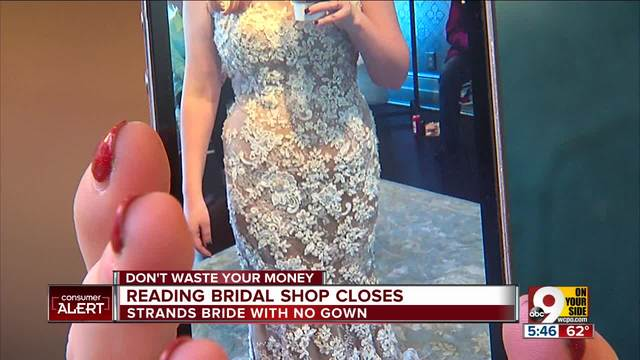Reading bridal shop closes bride has no gown wcpo for Wedding dress shops reading