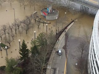 Rising floodwaters along the Ohio River