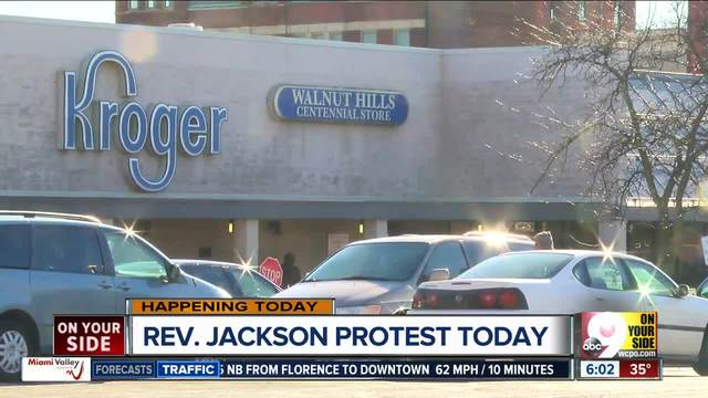 Rev  Jesse Jackson brings grocery boycott fight to Kroger HQ