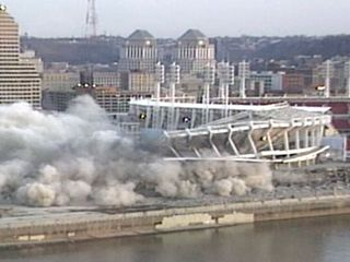 Cinergy Field goes up in smoke, dust