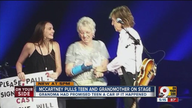 Sir Paul McCartney Surprises Fan By Signing Her Cast During Cincy Performance