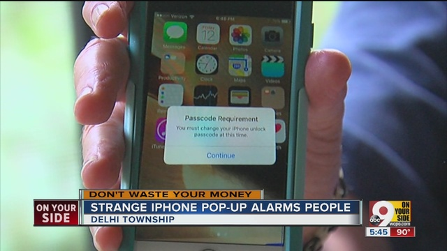 Strange iphone passcode popup scam or legit wcpo cincinnati oh john matarese looks into a suspicious message that urges iphone users to change their passcodes m4hsunfo