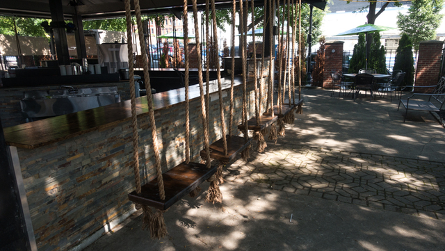 The Treehouse Patio Bar At 1133 Sycamore St. In Over The Rhine Features  Rope Swing Seats Around Its Bar. The Outdoor Patio Drew A Crowd Of About 75  People ...