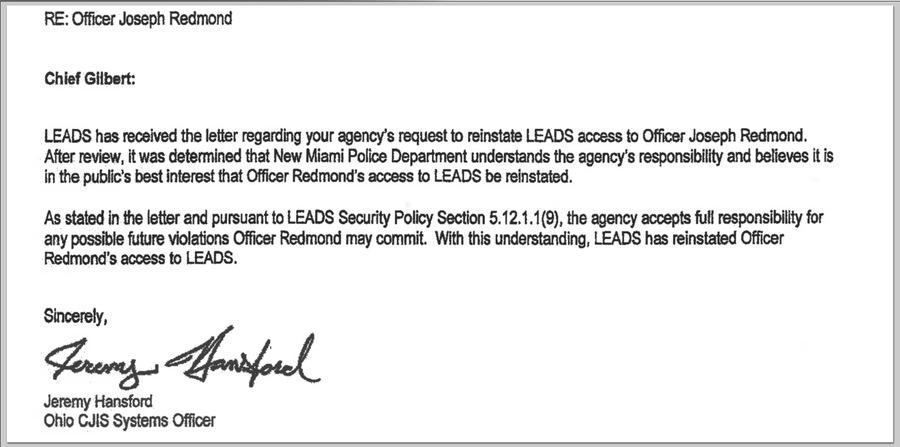 Letter Reinstating Joseph Redmondu0027s LEADS Access.