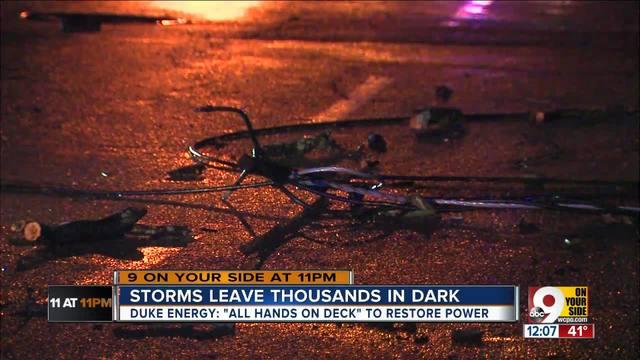 Duke crews to work through the night in an effort to restore power