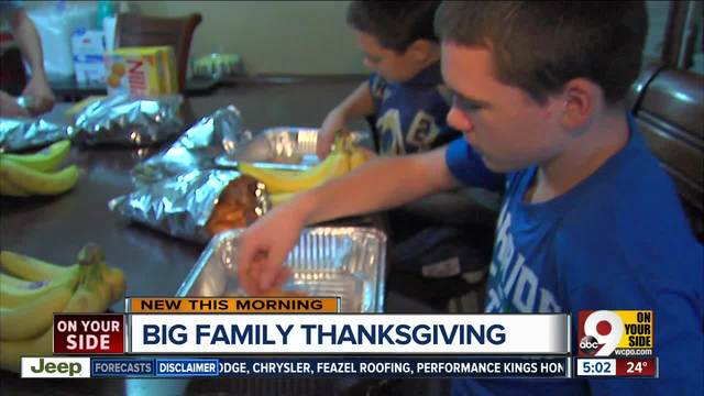 How does a 14-person family do Thanksgiving-