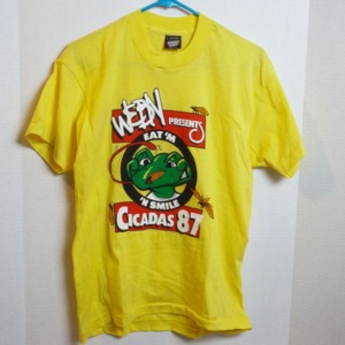 fd6f58c665e3 Longtime WEBN deejay and creative genius Jay Gilbert said this yellow  Cicada T-shirt is one of the most rare. The station thought it wouldn t  sell well and ...