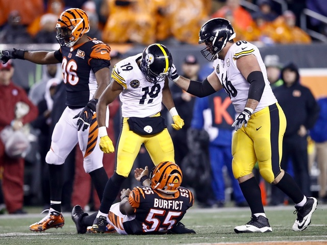 Steelers WR JuJu Smith-Schuster knocks Bengals LB Vontaze Burfict out