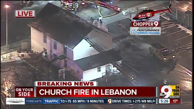 Aerial look- Firefighters battle bitter cold in Lebanon church fire