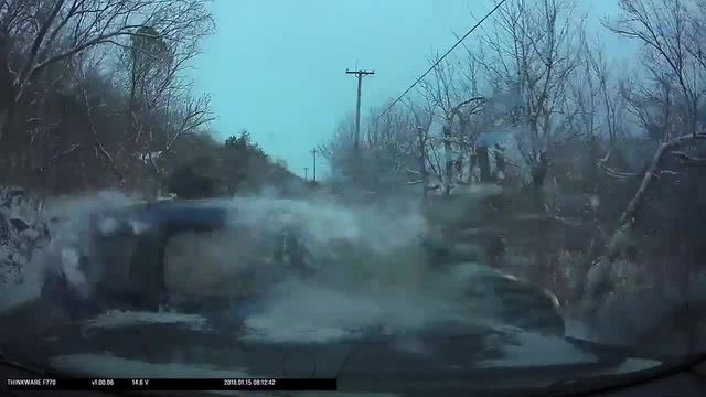 Dash cam catches sliding auto on ice slamming into Kentucky police cruiser