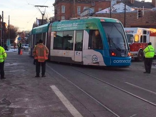 Car strikes, derails out-of-service streetcar