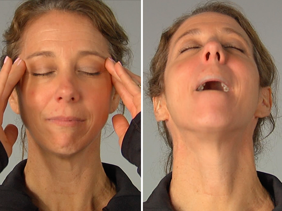 Instructor Mari Enders Demostrates Facial Yoga Techniques At Its Working Out