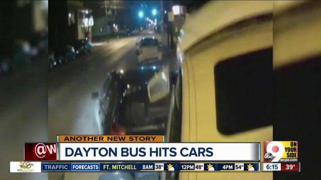 City bus smashes parked cars in Dayton, Ohio