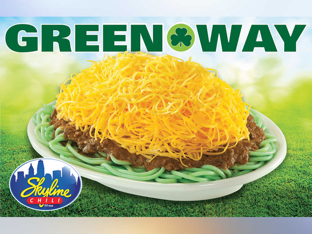 skyline chili is turning its noodles green this weekend for st