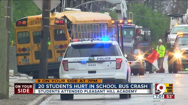 Two students hurt in school bus crash
