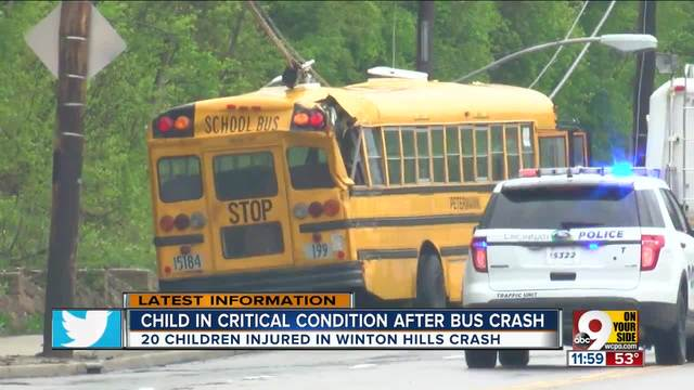 1 student still hospitalized after Winton Road school bus crash