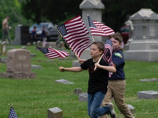 Flags at West Chester cemetery for Memorial Day
