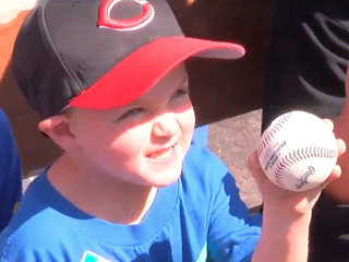 Boy with Cystic Fibrosis enjoys first Reds game