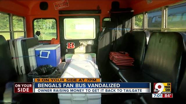 Bengals party bus vandalized