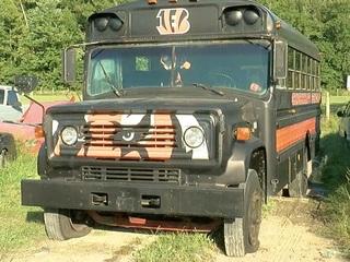 Bengals bus broken, busted and beaten by vandals