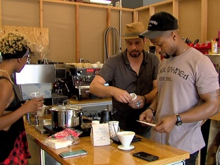 Downtown coffee shop opening with hip-hop twist