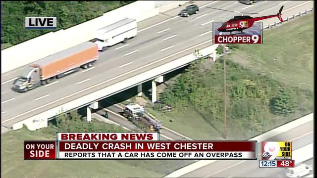 OSHP- 1 dead after car falls from overpass in West Chester