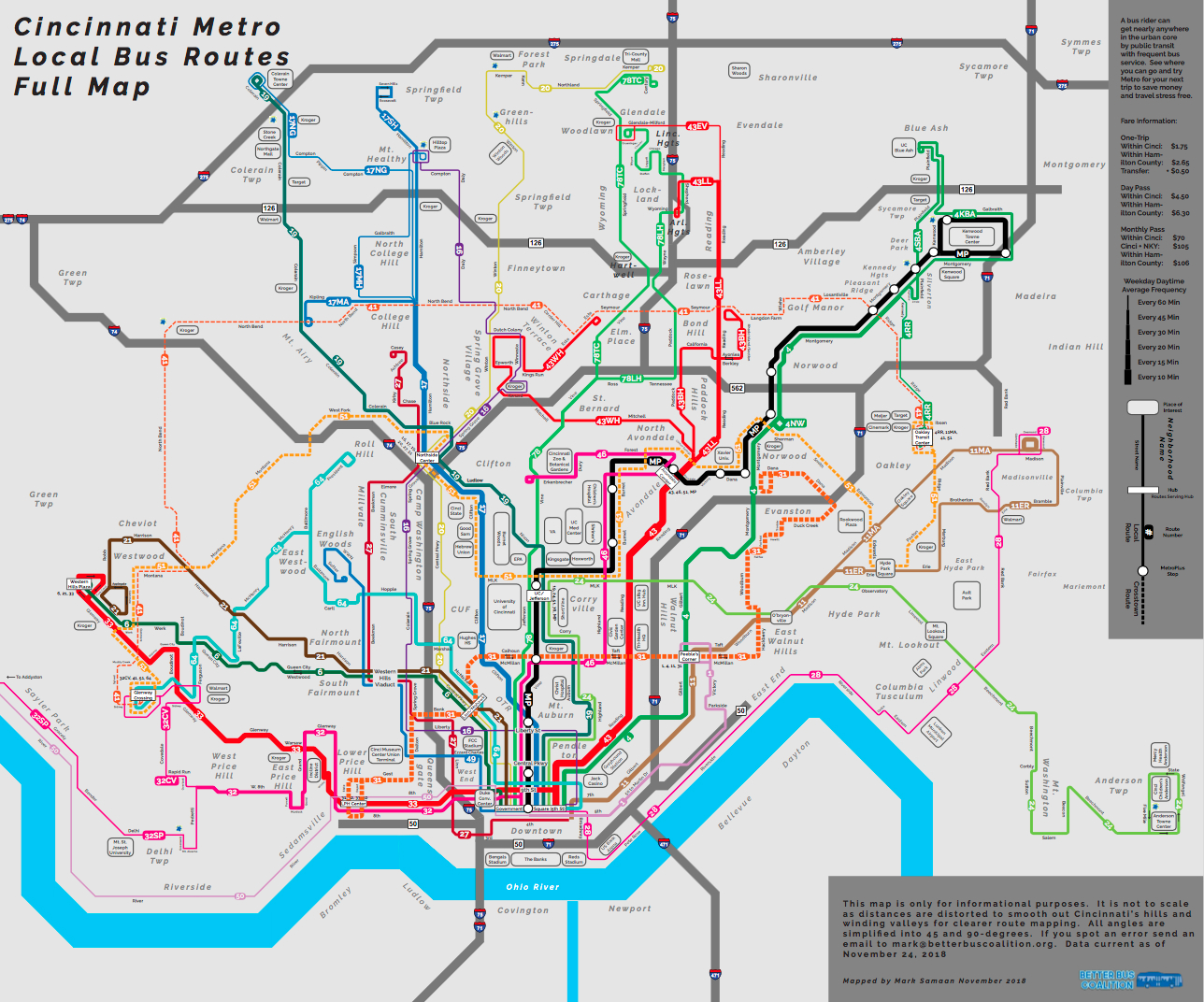 Cincinnati Subway Map.Better Bus Map Uses Modern Design To Make Metro Look Less Cluttered